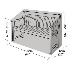 3 Seater Bench Cover 163cm x 81cm - Premium - Black