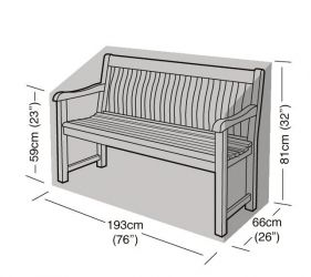 3-4 Seater Bench Cover 193cm x 81cm - Premium - Black