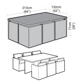 Rectangular 6 Seater Cube Set Cover 213cm x 71cm - Super Tough - Black