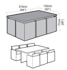 Rectangular 6 Seater Cube Set Cover 213cm x 71cm - Premium - Black