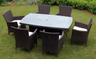 St. Tropez Wicker Rectangular Garden Table with Glass Top