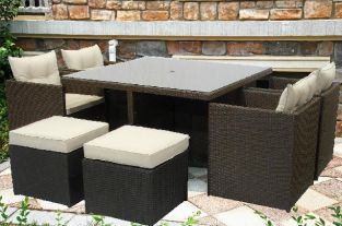 Havana Brown Wicker Square 8 Seater Garden Cube Set