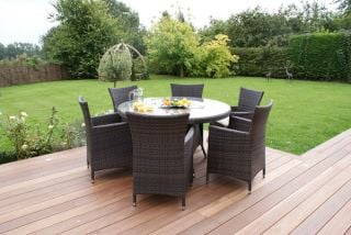 Maze Rattan - Miami 6 Seater Round Dining Set in Brown
