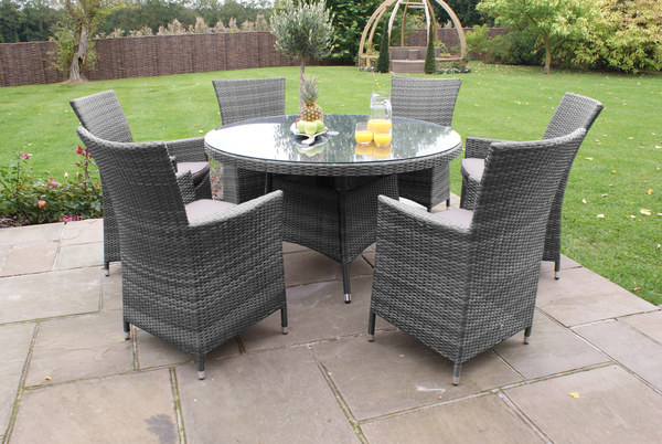 Maze Rattan - Miami 6 Seater Round Dining Set in Grey