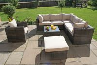 Maze Rattan - London 5 Seater Corner Sofa Set with Armchair in Brown