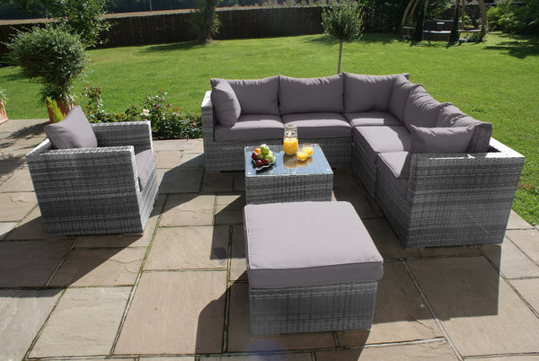Maze Rattan - London 5 Seater Corner Sofa Set with Armchair in Grey