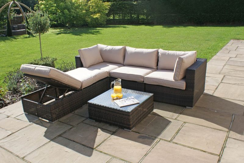 Maze Rattan - Rio 4 Seater Corner Sofa Set in Brown