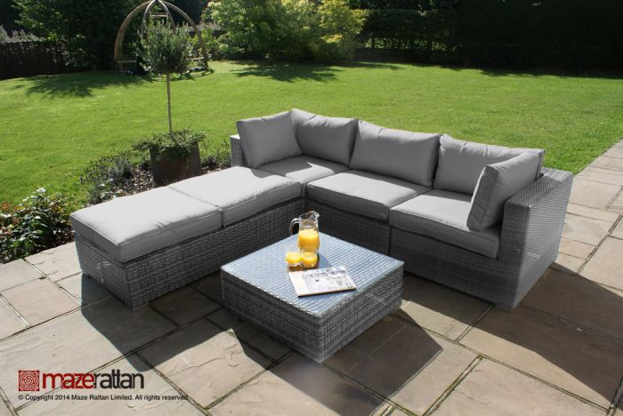 Maze Rattan - Rio 4 Seater Corner Sofa Set in Grey