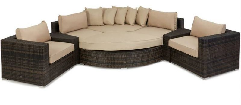 Maze Rattan - Barcelona Deluxe Corner Sofa Set in Brown