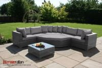 Maze Rattan - Barcelona Deluxe Corner Sofa Set in Grey