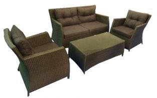 Cannes Rattan 4 Seater Garden Sofa Set in Mocha Brown