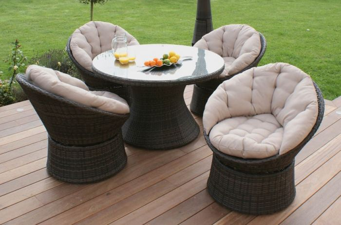 Maze Rattan - 4 Seater Swivel Dining Set