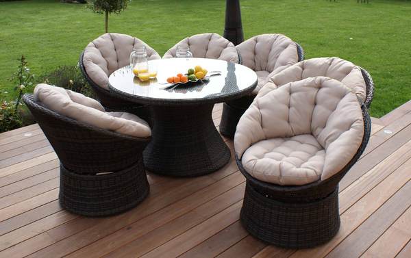 Maze Rattan - 6 Seater Swivel Dining Set