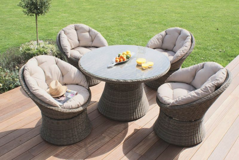 Maze Rattan - Winchester 4 Seater Swivel Dining Set
