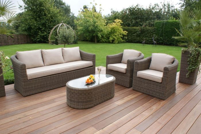 Maze Rattan Winchester Outdoor 3 Seater Sofa Chairs and Table Set in Natural