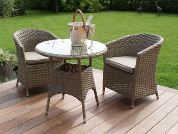 Maze Rattan - Natural Milan 2 Seater Round Bistro Set with Round Chair