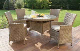 Maze Rattan - Natural Milan 4 Seater Round Dining Set