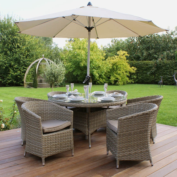 Maze Rattan - Natural Milan 6 Seater Round Dining Set with Round Chair