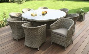 Maze Rattan - Natural Milan 8 Seater Round Dining Set with Round Chair