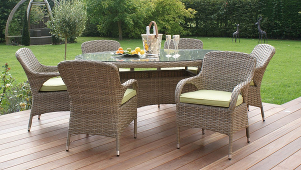 Maze Rattan - Natural Milan 6 Seater Oval Dining Set with Green Cushions
