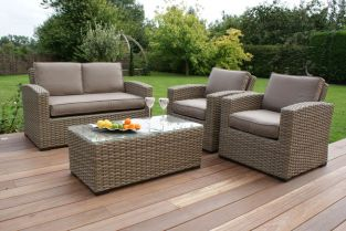 Maze Rattan - Natural Milan Kingston 2 Seater Sofa Set with Beige Cushions