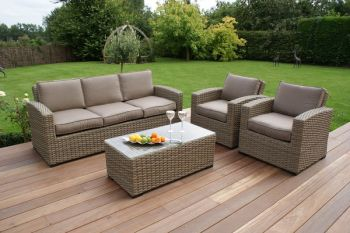 Maze Rattan - Natural Milan Kingston 3 Seater Sofa Set with Beige Cushions
