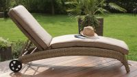 Maze Rattan - Natural Milan Sun Lounger with Beige Cushions