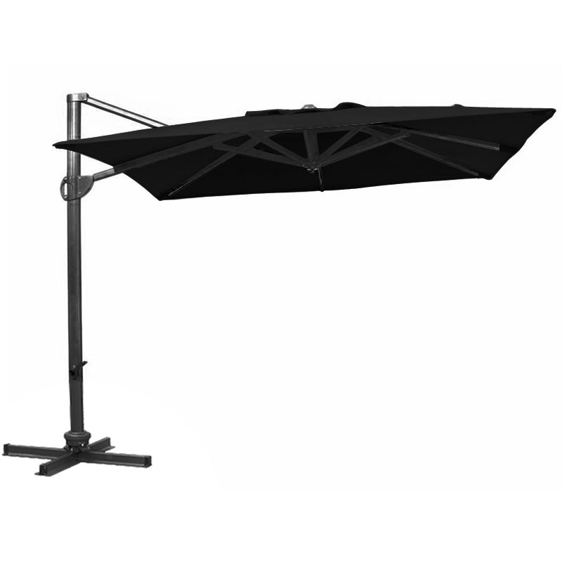 Glencrest Aluminium Cantilever Square Parasol in Black - W3m