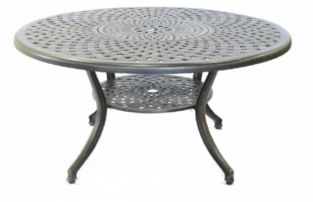 Eclipse Cast Aluminium 150cm Round Garden Table with Lazy Susan and Lower Shelf