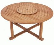 Solid Teak Balmoral Round Garden Table with Lazy Susan