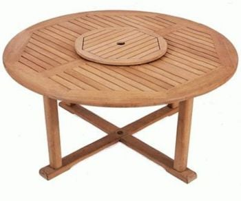 Solid Teak Balmoral Round Garden Table With Lazy Susan 163 493 99