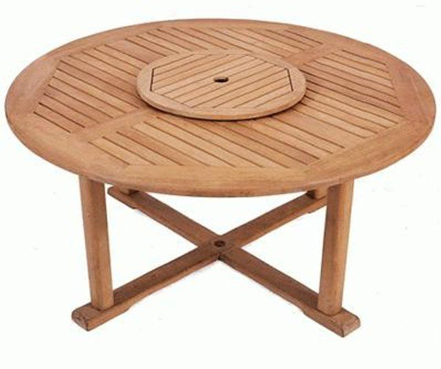 Solid teak balmoral round garden table with lazy susan for Round table 99