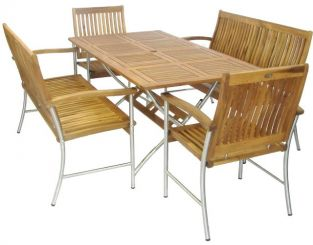 Livorno Stainless Steel & Acacia 6 Seater Rectangular Garden Dining Set with Benches