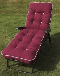 Maui Deluxe Reclining Sun Bed in Grey and Bordeaux Red W66cm x L185cm