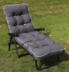 Maui Deluxe Reclining Sun Bed in Grey and Charcoal Grey W66cm x L185cm