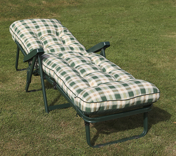 Maui Deluxe Reclining Sun Bed in Green and Pavia Check W66cm x L185cm