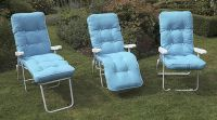Milan Deluxe Recliner Chair in White and Aqua Blue W60cm x L123cm