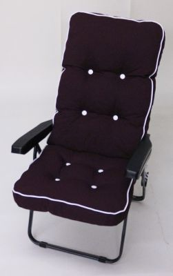 Milan Deluxe Recliner Chair in Grey and Bordeaux Red W60cm x L123cm