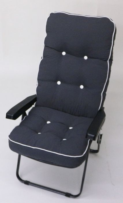 Milan Deluxe Recliner Chair in Grey and Charcoal Grey W60cm x L123cm