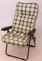 Milan Deluxe Recliner Chair in Green and Pavia Check