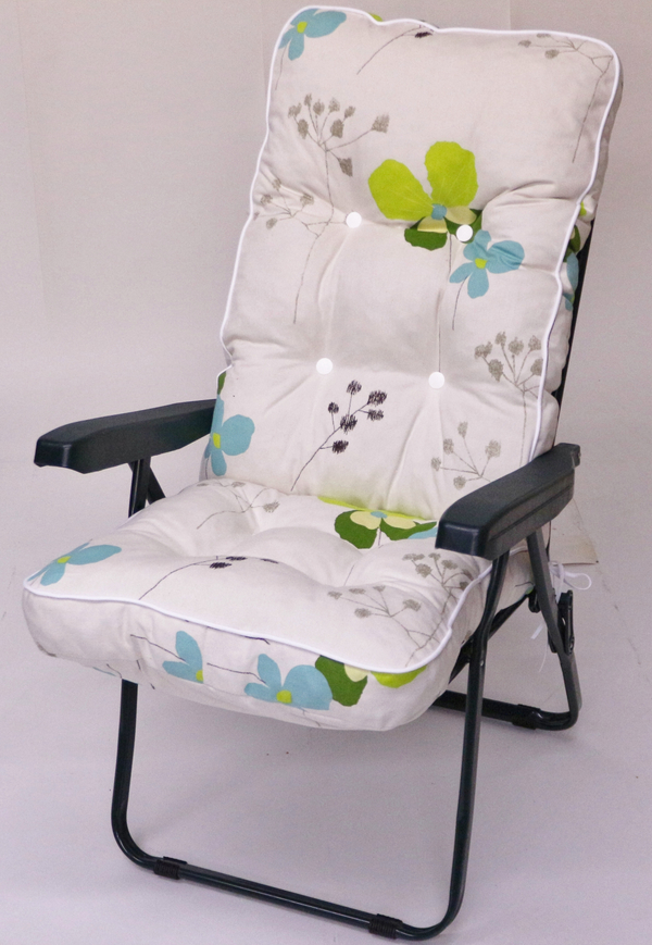 Milan Deluxe Recliner Chair in Green and Summer Breeze Floral W60cm x L123cm