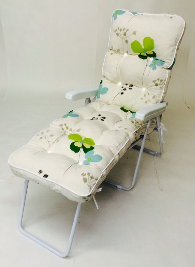 Milan Deluxe Reclining Lounger in White and Summer Breeze Floral W60cm x L161cm