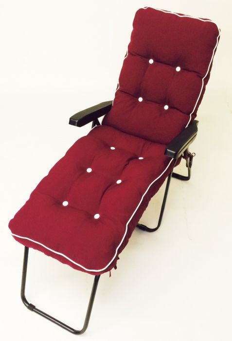 Milan Deluxe Reclining Lounger in Grey and Bordeaux Red W60cm x L161cm