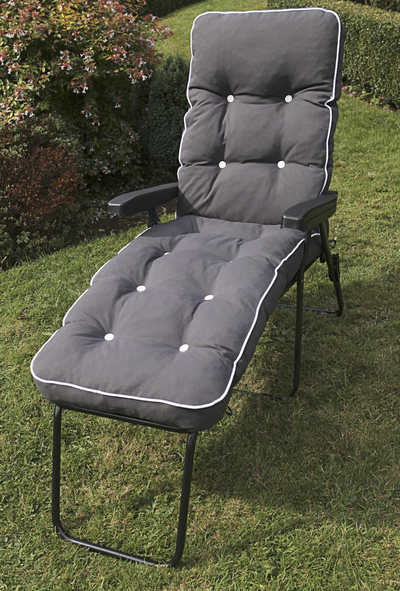 Milan Deluxe Reclining Lounger in Grey and Charcoal Grey W60cm x L161cm