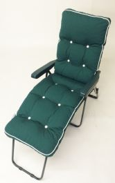 Milan Deluxe Reclining Lounger in Green and Hunter Green W60cm x L161cm