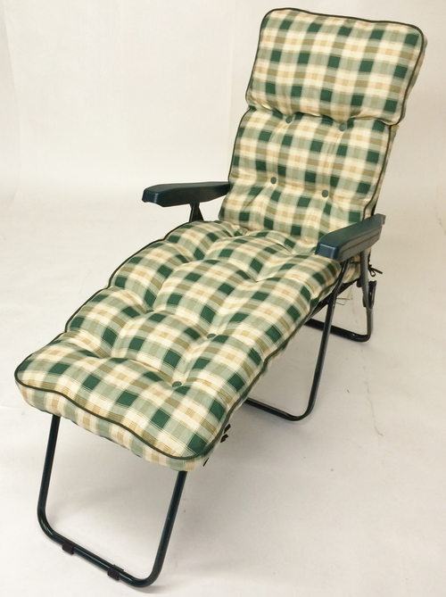 Milan Deluxe Reclining Lounger in Green and Pavia Check W60cm x L161cm