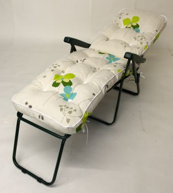 Milan Deluxe Reclining Lounger in Green and Summer Breeze Floral W60cm x L161cm