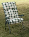 Capri Recliner Chair in Green with Pavia Check Cushions W59cm x L120cm