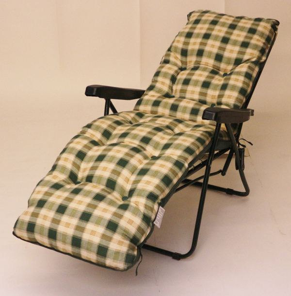 Capri Automatic Relaxer in Green with Pavia Check Cushions W59cm x L154cm