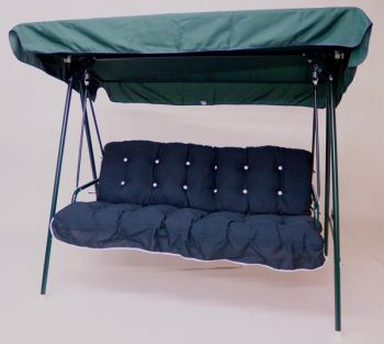 Happy 3 Seater Swinging Hammock in Green with Hunter Green Cushions W195cm x D106cm